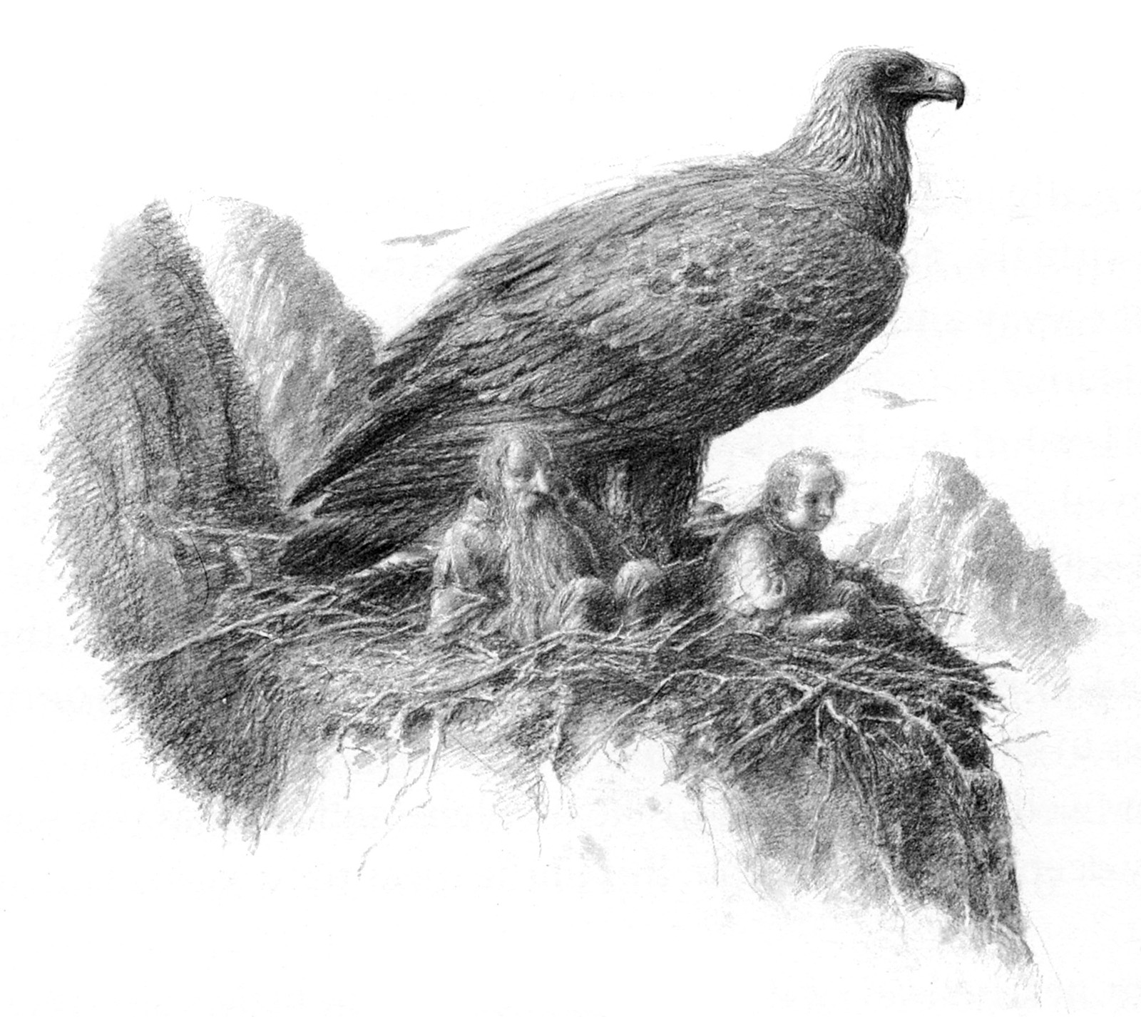 Bilbo, a dwarf, and an eagle in its nest